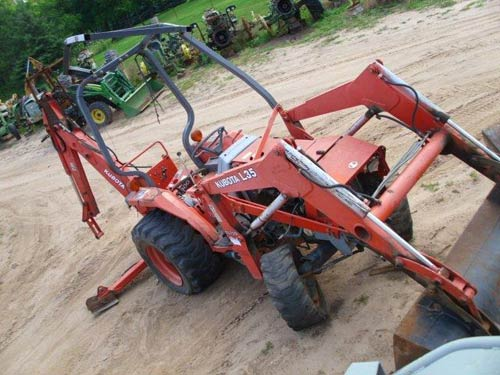Kubota L35 tractor salvaged for used parts. This unit is available at All States Ag Parts in Black Creek, WI. Call 877-530-2010 parts. Unit ID#: EQ-20211. The photo depicts the equipment in the condition it arrived at our salvage yard. Parts shown may or may not still be available. http://www.TractorPartsASAP.com