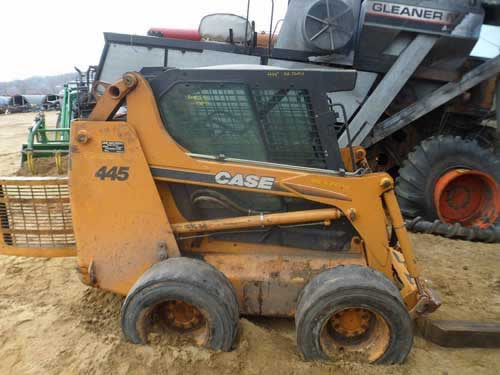 Case 445 skid steer loader salvaged for used parts. This unit is available at All States Ag Parts in Downing, WI. Call 877-530-1010 parts. Unit ID#: EQ-22030. The photo depicts the equipment in the condition it arrived at our salvage yard. Parts shown may or may not still be available. http://www.TractorPartsASAP.com