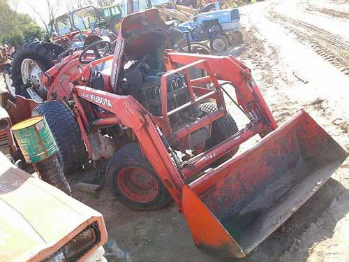 Kubota B7500 tractor salvaged for used parts. This unit is available at All States Ag Parts in Black Creek, WI. Call 877-530-2010 parts. Unit ID#: EQ-22075. The photo depicts the equipment in the condition it arrived at our salvage yard. Parts shown may or may not still be available. http://www.TractorPartsASAP.com